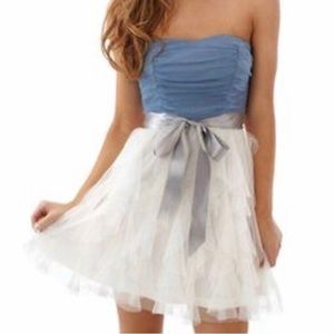 blue strapless mini dress!